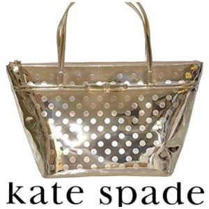 Kate Spade Camellia gold tote with dots